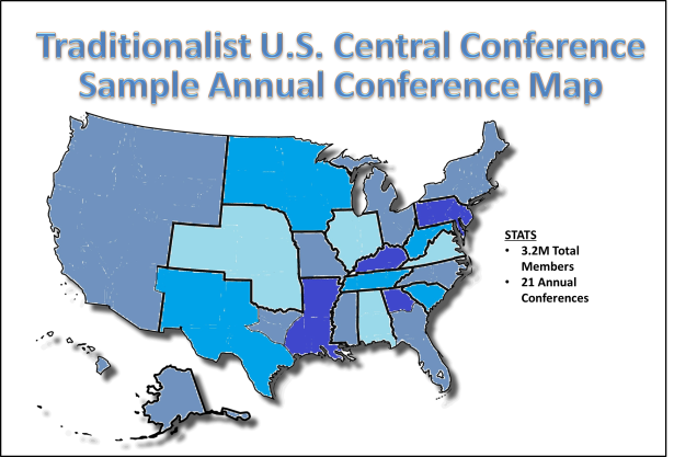 Traditionalist Central Confernce Map with stats